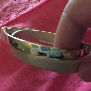 Goldtone & faux leather wrap bracelet